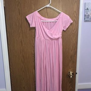 Dresses & Skirts - PINK LONG MATERNITY DRESS